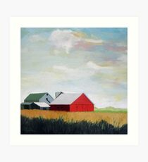 Country Farm Landscape rural Red Barn Art Print