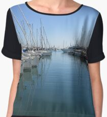 boats in harbour, antibes, france Women's Chiffon Top