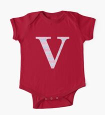 Letter V Blue And Pink Dots And Dashes Monogram Initial Kids Clothes