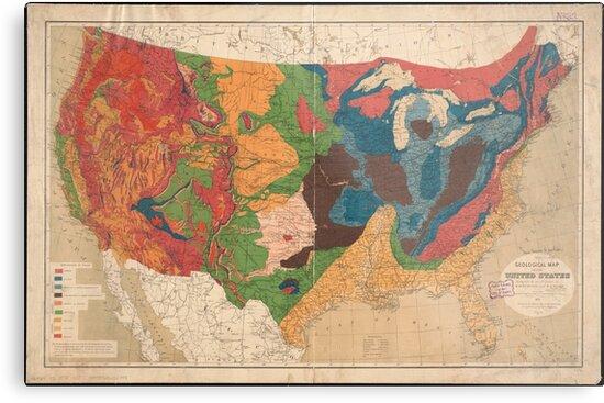 Geological Map Of United States.Vintage United States Geological Map 1872 Metal Prints By