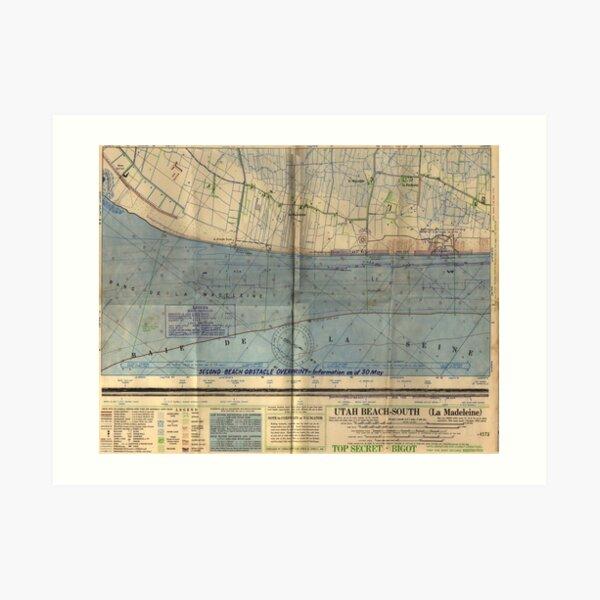 Vintage Utah Beach D-Day Invasion Map (1944) Art Print