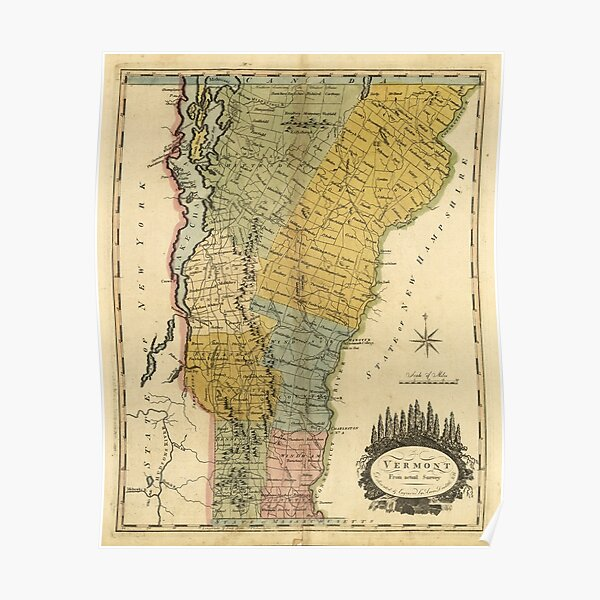 Vintage Map of Vermont (1814) Poster