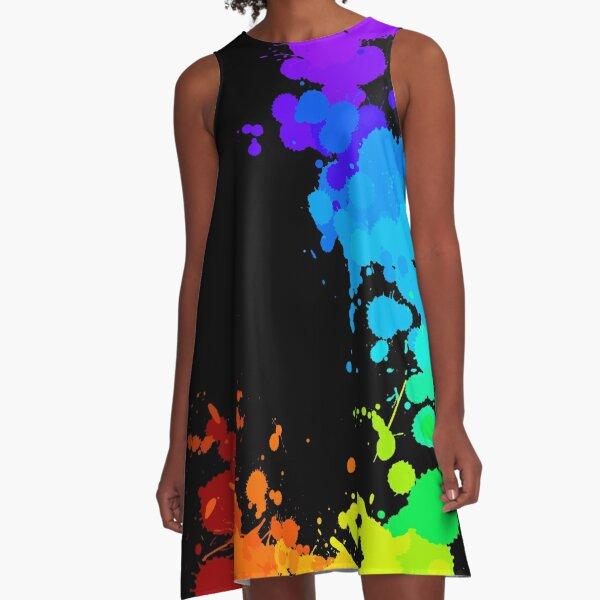 Rainbow Splatter A-Line Dress
