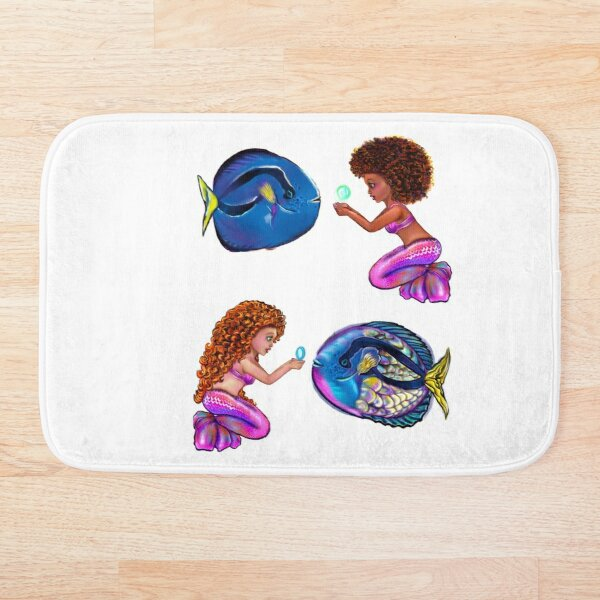 anime mermaid with blue tang fish and bubbles. Pretty black  and white girls with Afro hair, green eyes, Cherry pink lips and dark brown skin. Hair love ! Bath Mat