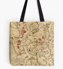 Vintage Map of Yellowstone National Park (1881) Tote Bag