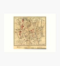 Vintage Map of Yellowstone National Park (1881) Art Print