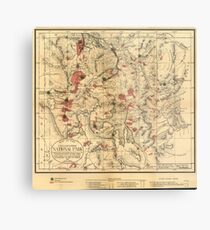 Vintage Map of Yellowstone National Park (1881) Metal Print