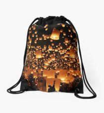 Floating lanterns at Yi Peng festival in Thailand Drawstring Bag