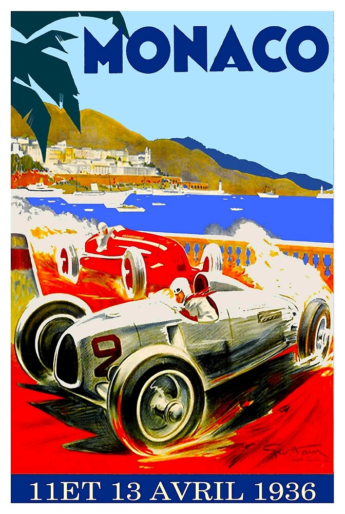 """MONACO GRAND PRIX"" Vintage Advertising Print by posterbobs"