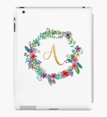 Floral Initial Wreath Monogram A iPad Case/Skin