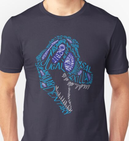 Color Calligram Tyrannosaur Skull T-Shirt