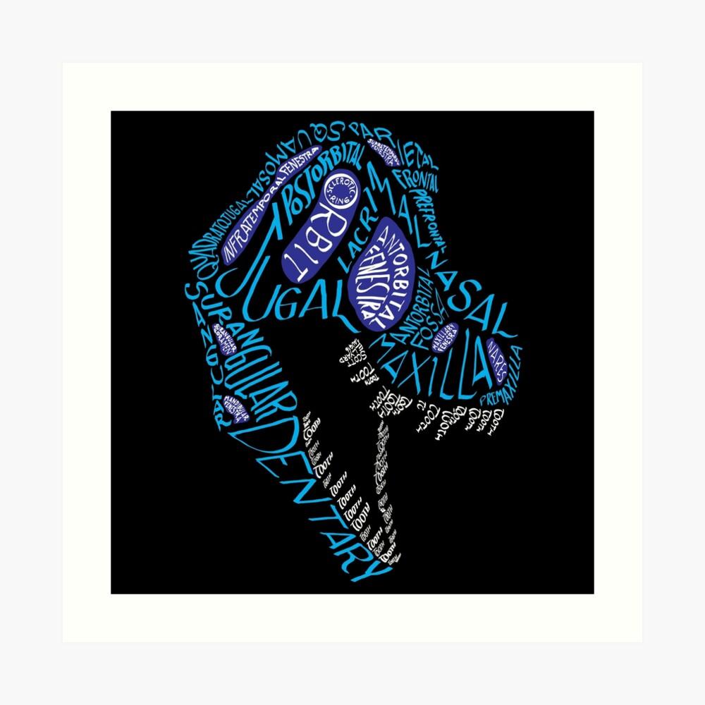 Color Calligram Tyrannosaur Skull Art Print