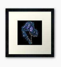 Color Calligram Tyrannosaur Skull Framed Print