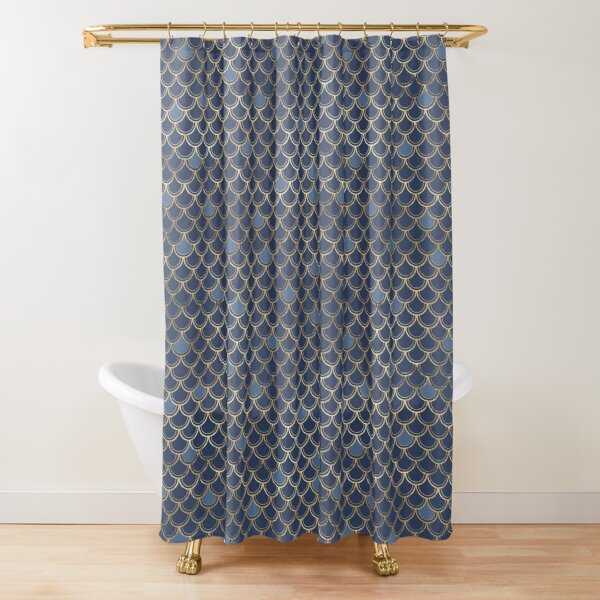 Mermaid Scales Blue and Gold Shower Curtain