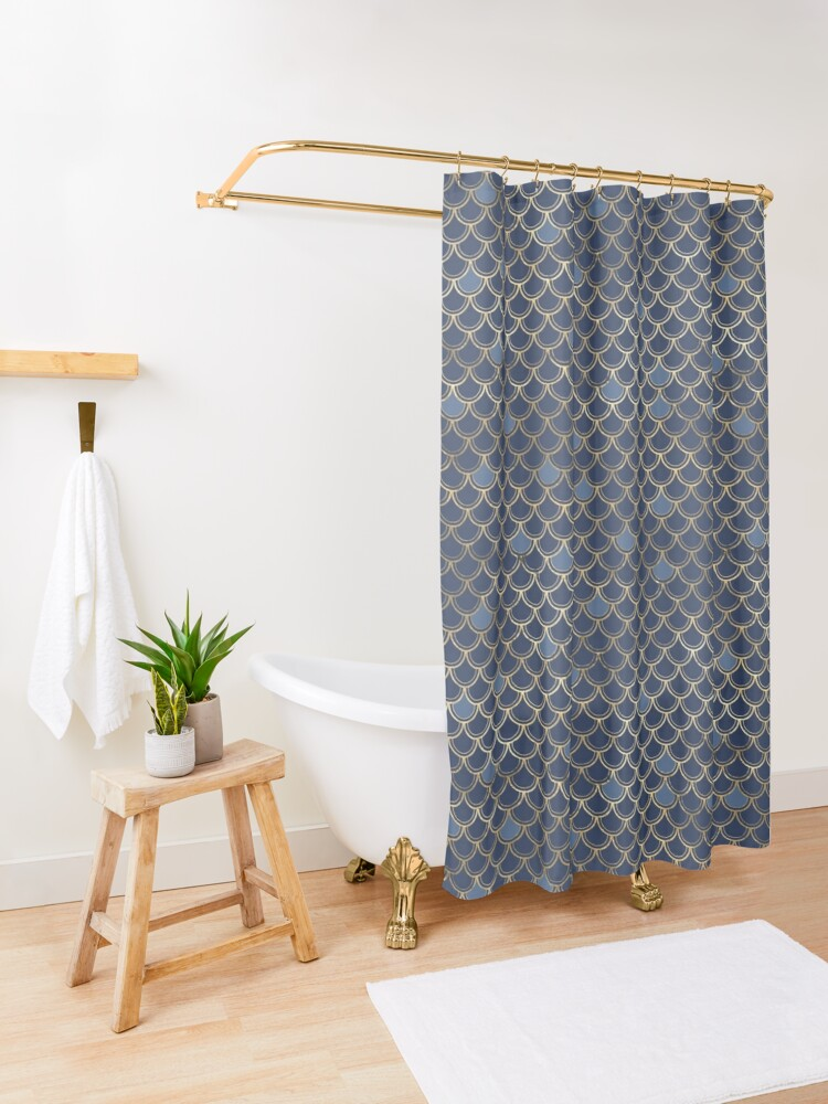Alternate view of Mermaid Scales Blue and Gold Shower Curtain