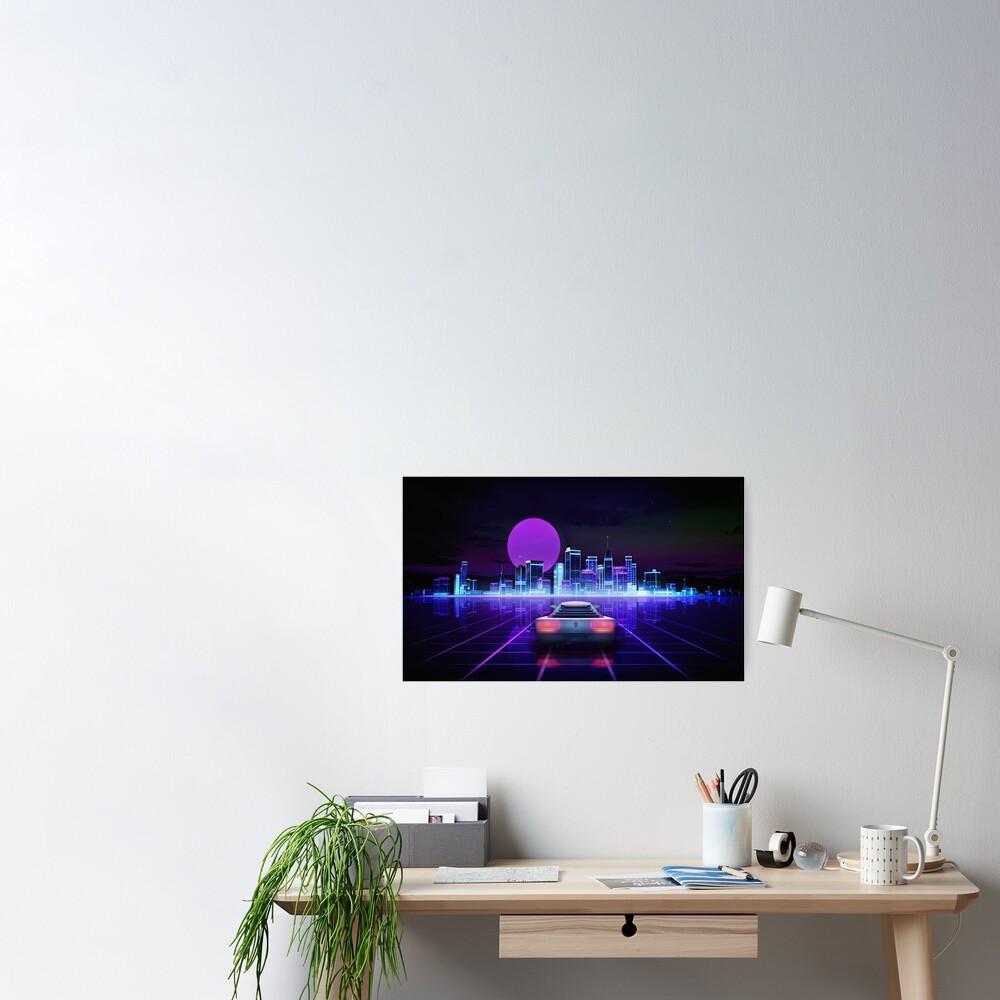 Cyber city, futuristic arcade games concept Poster