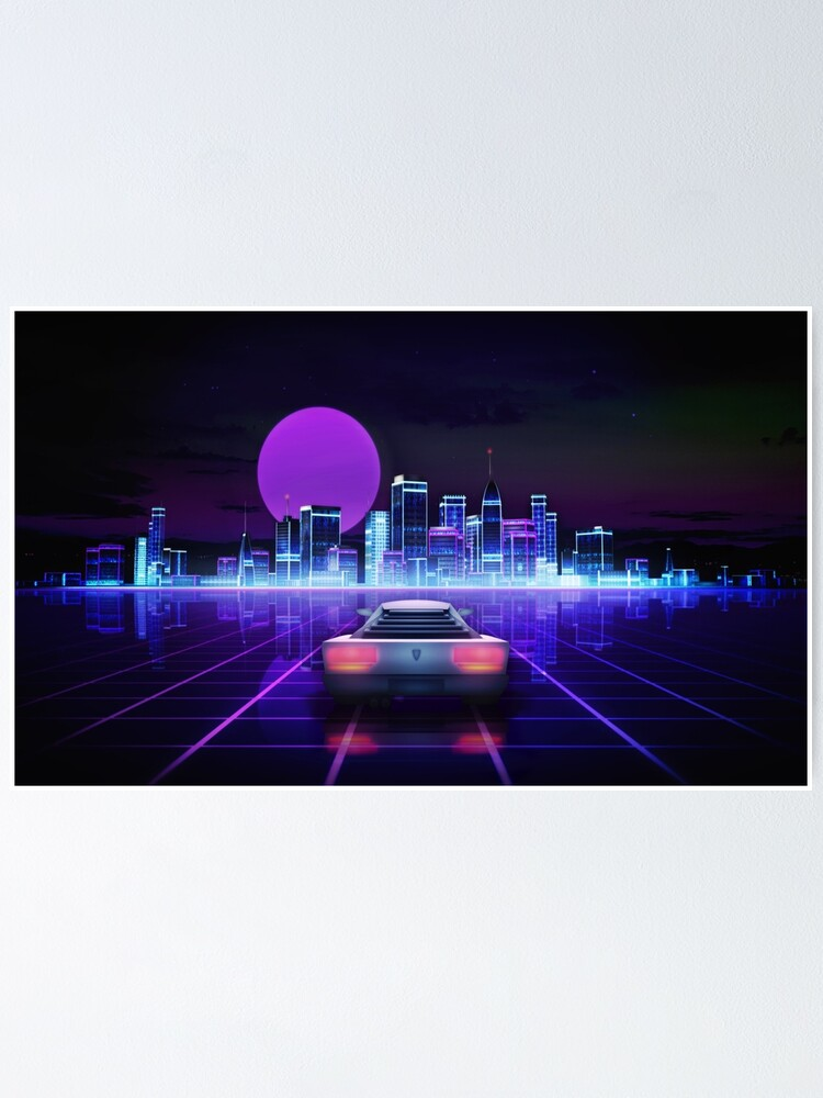 Alternate view of Cyber city, futuristic arcade games concept Poster