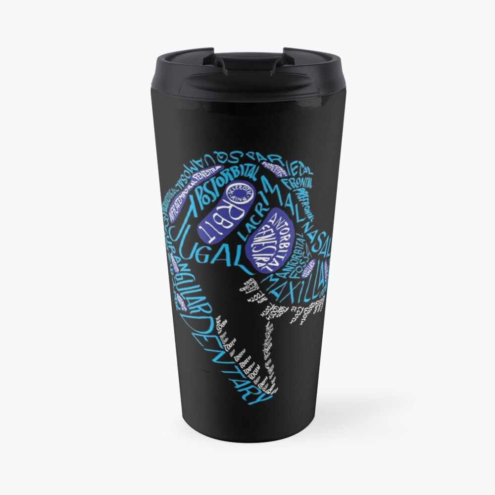 Color Calligram Tyrannosaur Skull Travel Mug