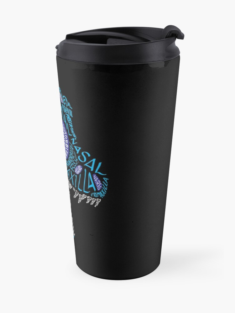 Alternate view of Color Calligram Tyrannosaur Skull Travel Mug