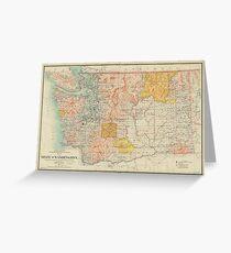 Vintage Map of Washington State (1897) Greeting Card