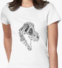 Black Calligram Tyrannosaur Skull Womens Fitted T-Shirt