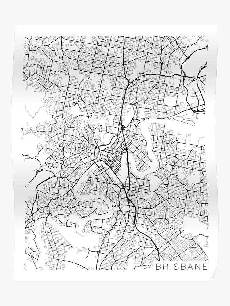 Australia Map Black And White.Brisbane Map Australia Black And White Poster