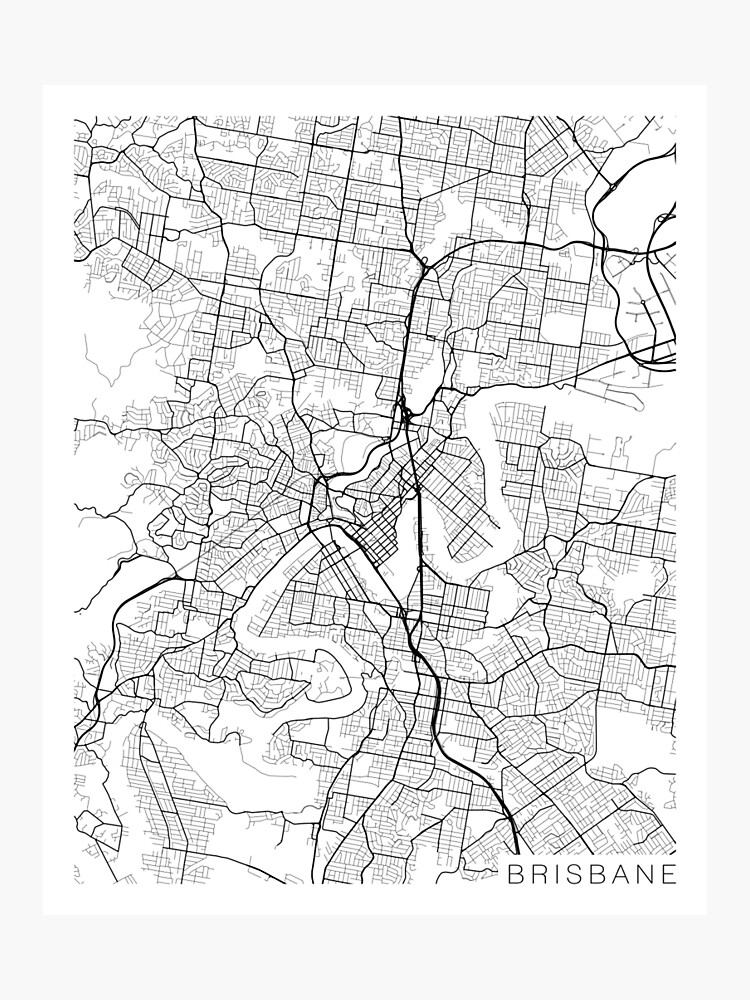 Brisbane Map Australia.Brisbane Map Australia Black And White Photographic Print By