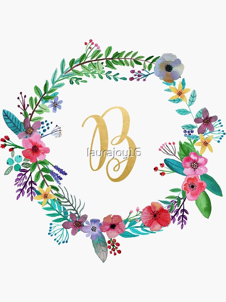 Floral Initial Wreath Monogram B by laurajoy16