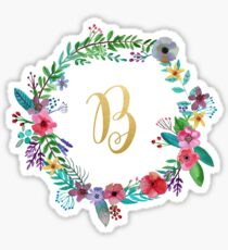 Floral Initial Wreath Monogram B Sticker