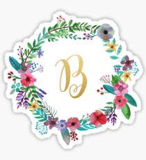 Pegatina Guirnalda inicial floral Monograma B