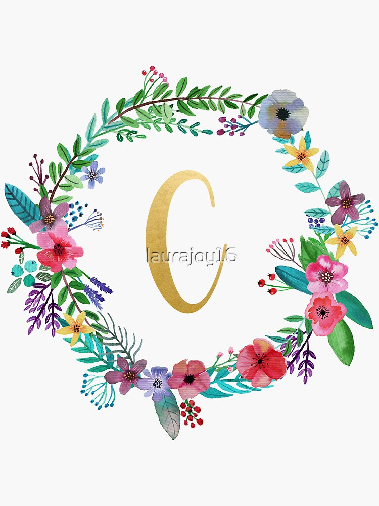 Floral Initial Wreath Monogram C by laurajoy16