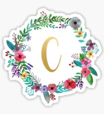 Floral Initial Wreath Monogram C Sticker