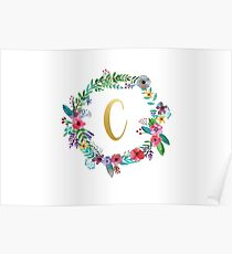 Floral Initial Wreath Monogram C Poster