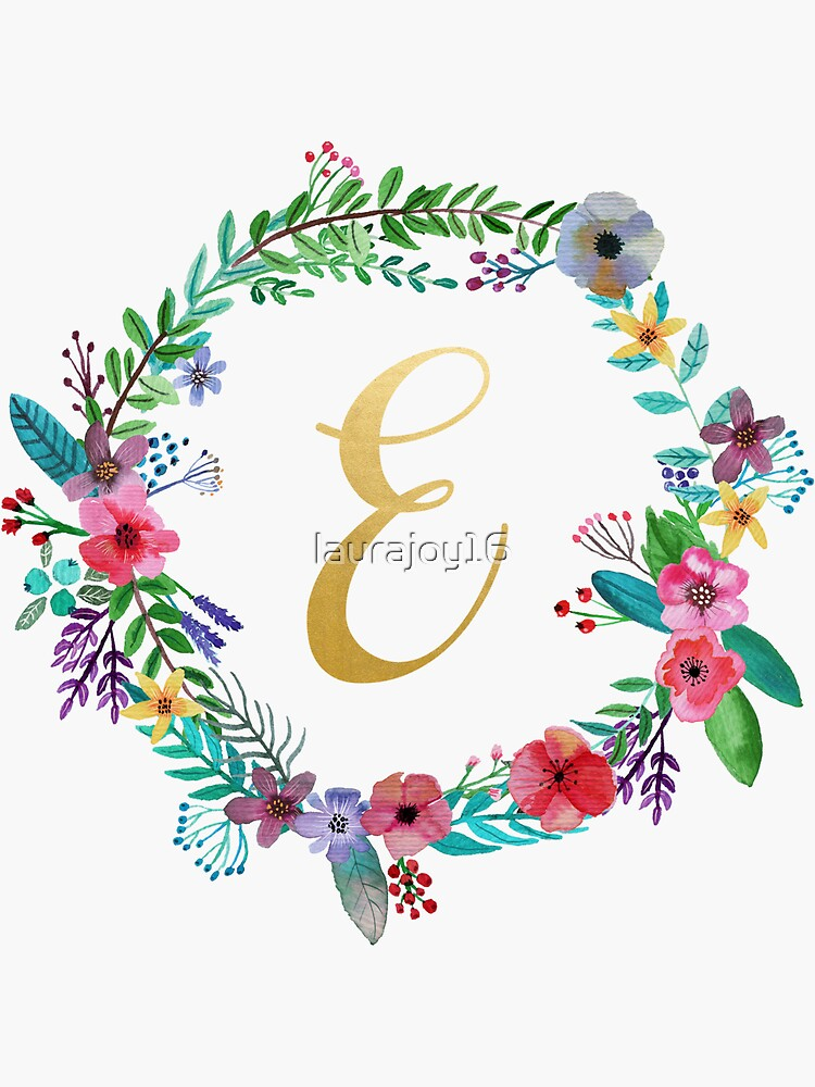 Floral Initial Wreath Monogram E by laurajoy16
