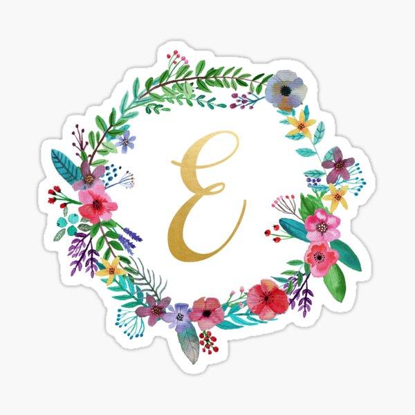 Floral Initial Wreath Monogram E Sticker