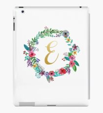 Floral Initial Wreath Monogram E iPad Case/Skin
