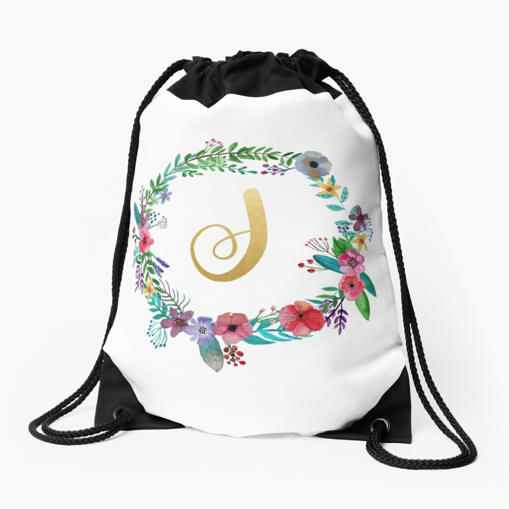 Floral Initial Wreath Monogram J Drawstring Bag