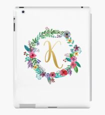 Floral Initial Wreath Monogram K iPad Case/Skin