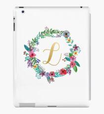 Floral Initial Wreath Monogram L iPad Case/Skin