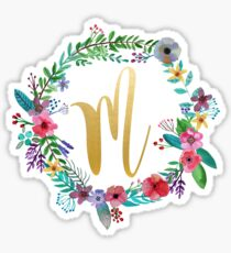 Floral Initial Wreath Monogram M Sticker