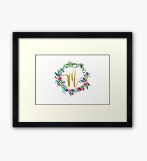 Floral Initial Wreath Monogram M Framed Print