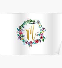 Floral Initial Wreath Monogram M Poster