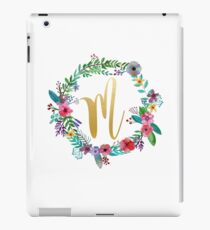 Floral Initial Wreath Monogram M iPad Case/Skin