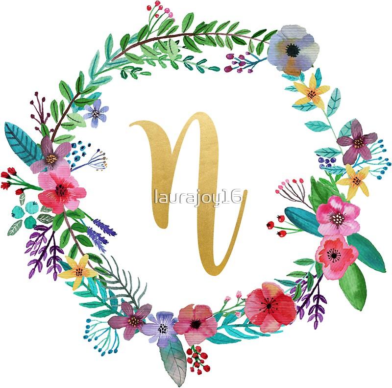 u0026quot floral initial wreath monogram n u0026quot  stickers by laurajoy16
