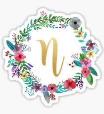 Floral Initial Wreath Monogram N Sticker