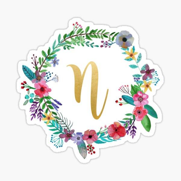 Floral Initial Wreath Monogram N Sticker