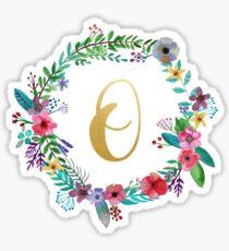 Floral Initial Wreath Monogram O Sticker