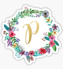Floral Initial Wreath Monogram P Sticker
