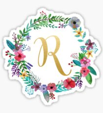 Floral Initial Wreath Monogram R Sticker