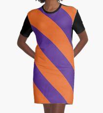 Clemson South Carolina Purple & Orange Team Color Stripes Graphic T-Shirt Dress
